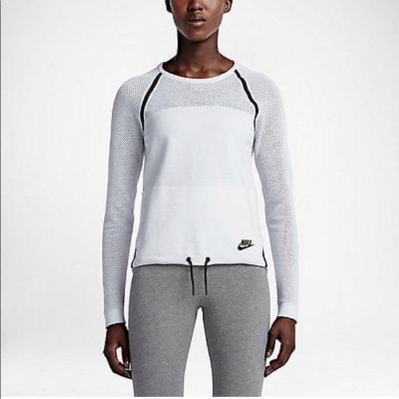 1fefeea3f2b Nike Women's Tech Knit Crew Sweater in White NWT